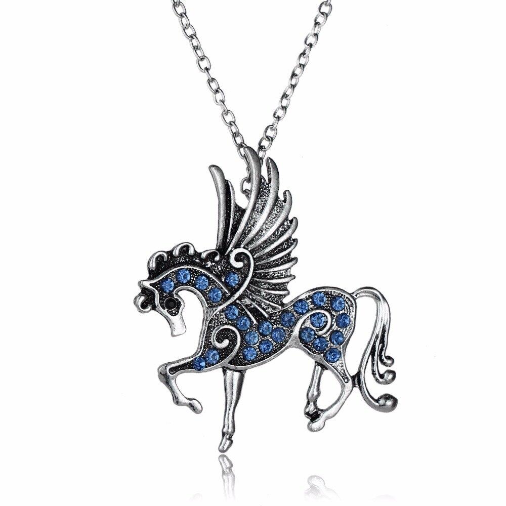 12 قطعة/الوحدة الأزرق كريستال حجر الراين الحصان أجنحة قلادة قلادة بيغاسوس الحيوانات سحر مجوهرات النساء الرجال حزب هدية سحر مجوهرات