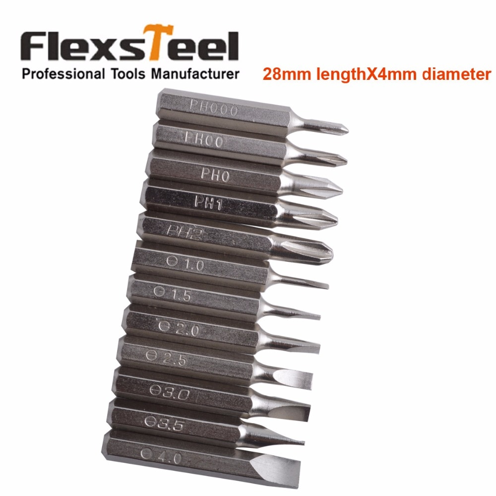 Набор прецизионных отверток Flexsteel, 12 шт. в комплекте: PH000, PH00, PH0, PH1, PH2, SL1, SL1.5, SL2, SL2.5, SL3, SL3.5, SL4