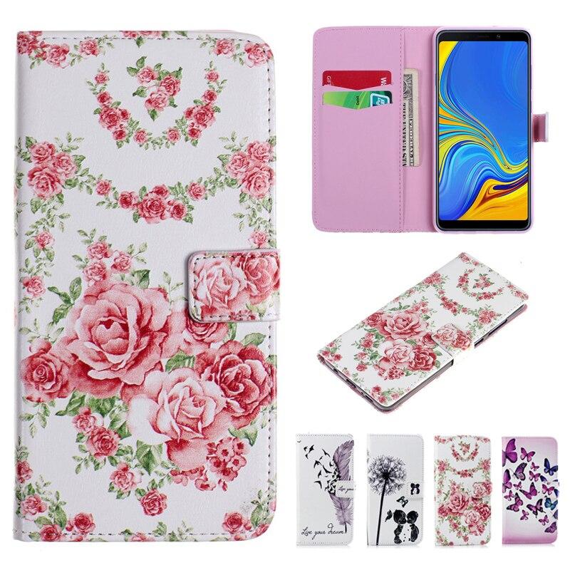 Libro de cuero Flip funda para Samsung A7 2018 pluma impreso de flores y mariposas cartera funda para Samsung A6 A8 A9 J8 J4 J6 Plus 2018