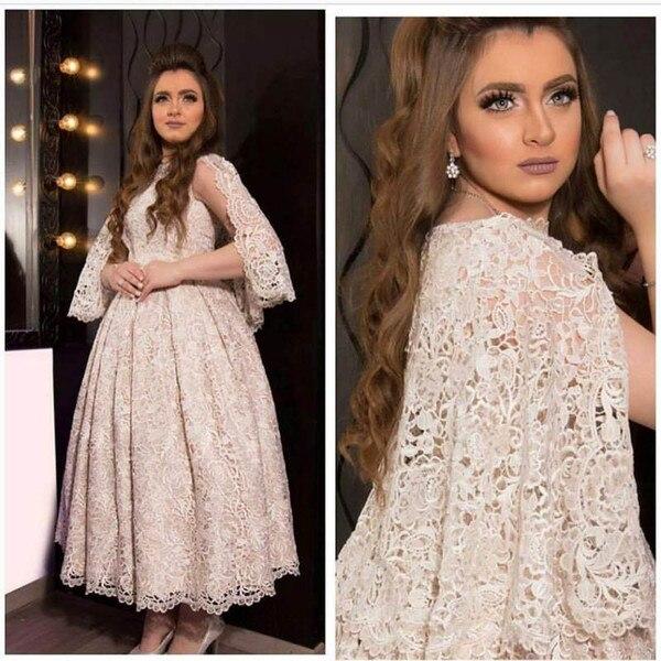 Champagne Lace Ball árabe Madre de la novia vestido Retro Vintage Medio Oriente vestido de noche hasta el tobillo vestido de fiesta