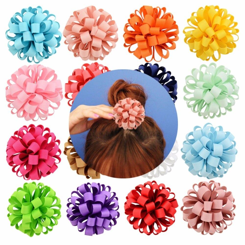 1 pieza 3 pulgadas nuevo diseño tejer grogrén (ligamento tafetán cinta flor con cuerda elástica Floral bandas para el cabello accesorios 813
