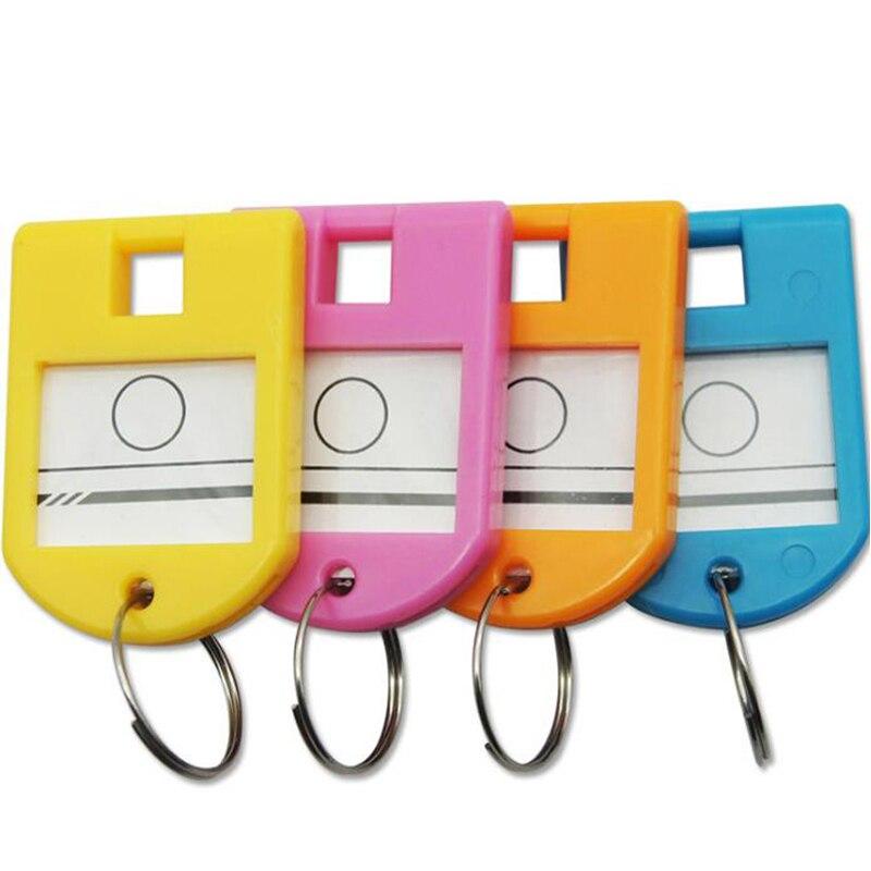 Gran calidad, 50 Uds., bolsa de plástico colorida para identificación de equipaje, llave de etiqueta, etiquetas de llaveros, accesorios, llavero creativo para hombres y niñas