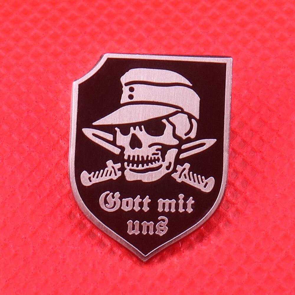 Gott mit uns (Gott mit uns) emaille pin schädel messer brosche vintage silber schwarz schild abzeichen Deutsch wehrmacht schmuck gott pins gif