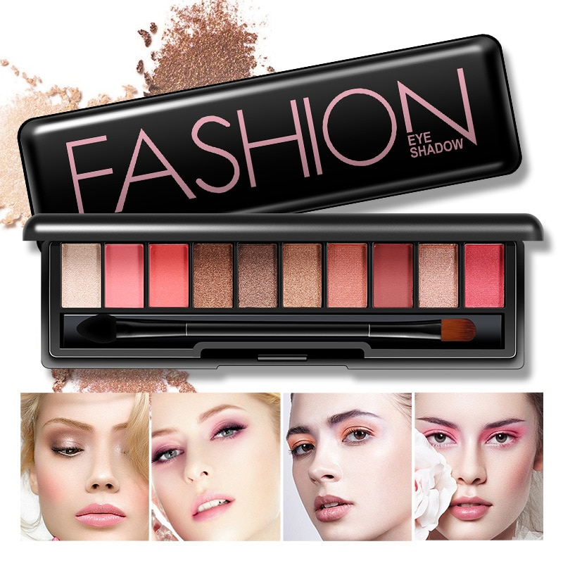 BIOAQUA 10 colores mate diamante brillo Matallic sombra de ojos paleta fácil de usar sombra de ojos crema cosmética maquillaje profesional