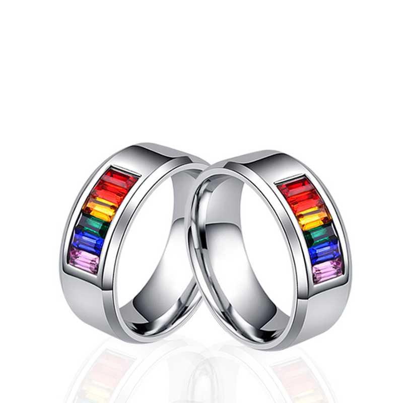 Para hombre mujer Arco Iris colorido LGBT anillo alianza de boda de acero inoxidable Lebian y Gay anillos Drop Shipping