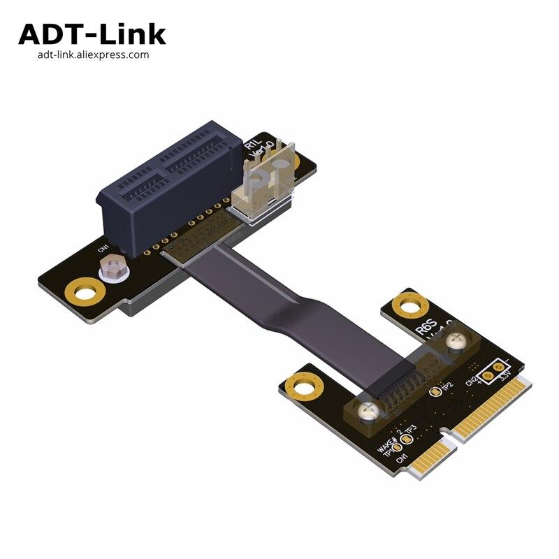 Mini PCIe MPCIe WiFi cable de extensión de interfaz de tarjeta de red inalámbrica a 1 PCI-E x1 1x codo vertical en ángulo izquierdo mini PCI-E 8Gbps