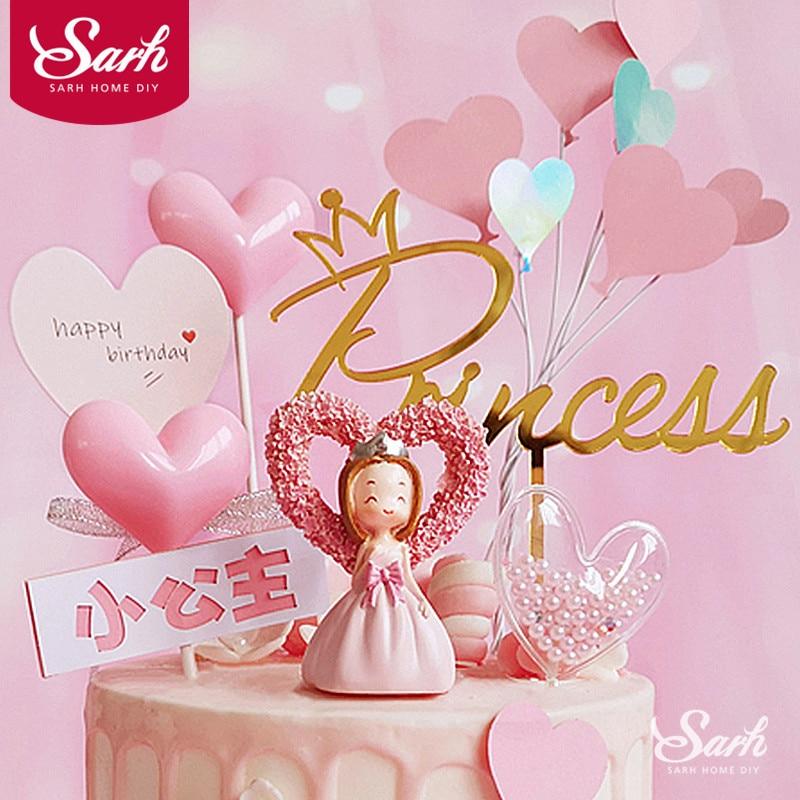 Розовый бант сердце принцесса украшение Серебряная корона с днем рождения торт Топпер для детского дня вечерние свадебные принадлежности прекрасный подарок