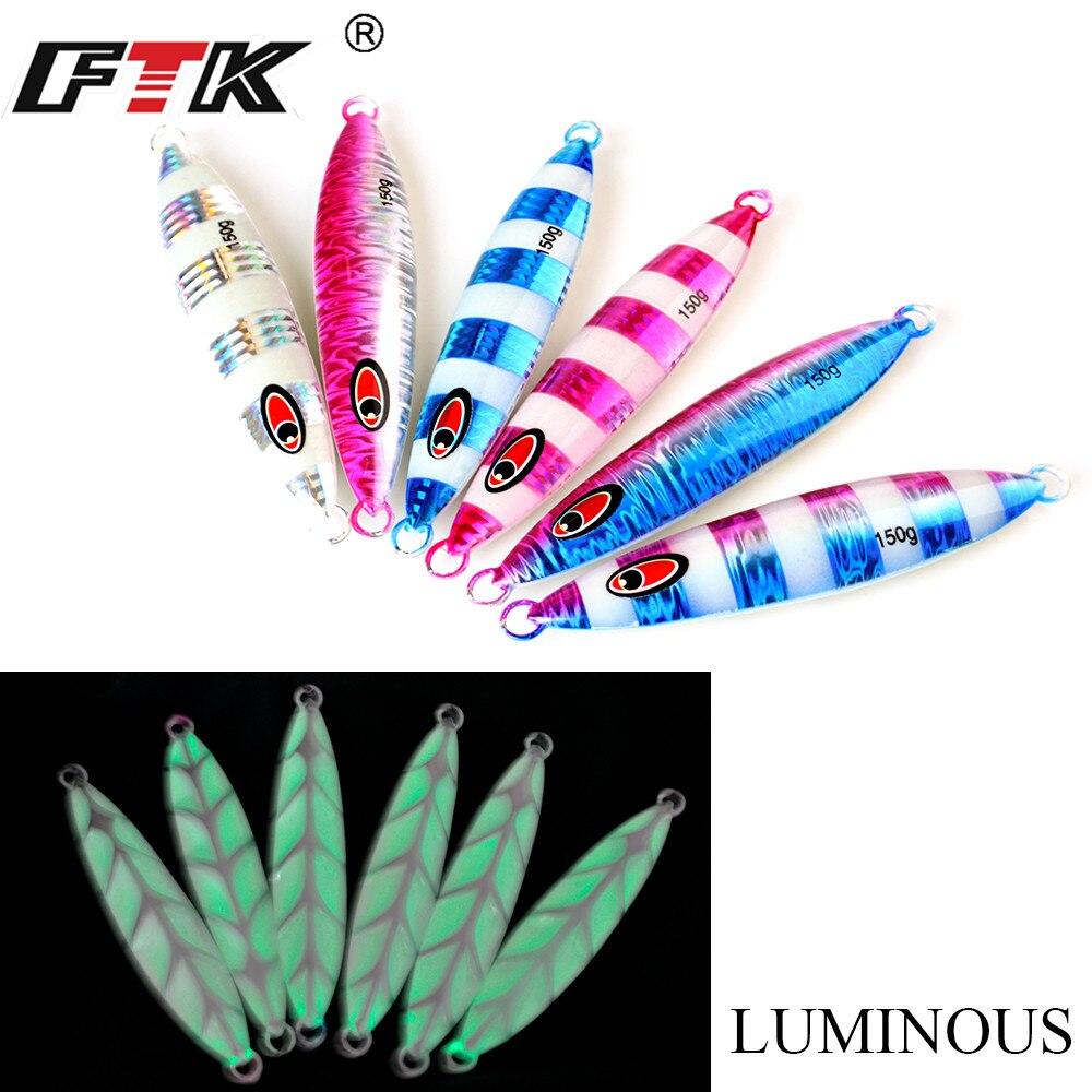 FTK 1PC costa de cable de jigging de Metal fundido plantilla cuchara 30g/40g/60g 3D ojos mar señuelo para pesca de lubina aparejos cebo artificial