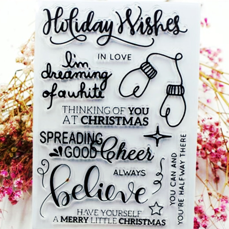 SCS10 Holiday Wishes sellos para álbum de recortes de silicona transparentes tarjetas para decoración de álbum DIY carpeta en relieve moldes de sellos de goma artesanales
