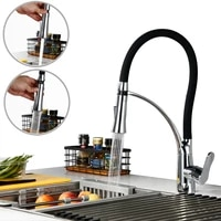 chrome plated brass new style black pull out kitchen sink faucet flexible hose cold and hot water faucetrotatable