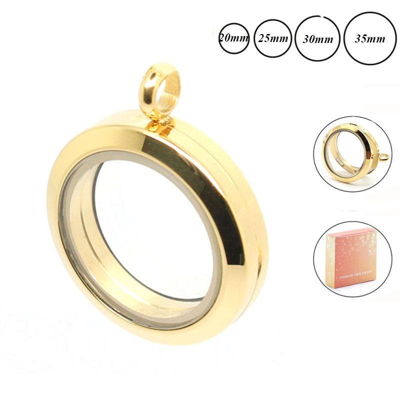 Wholesale 20mm 25mm 30mm 35mm gold 316L stainless steel floating locket glass memory locket pendant