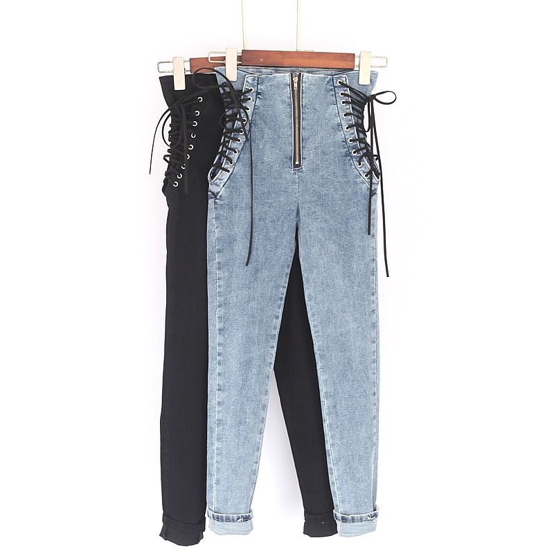 Women Jeans Casual Drawstring Slim Fit Vintage Zipper Skinny High Waist Jeans Fashion Spring  Cowboy Long Jeans Denim Streetwear