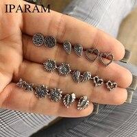 IPARAM 9 Pairs/Set Cute Vintage Heart Lotus Wing Earrings Set for Female Punk Geometric Animal Ears Aros Fashion Jewelry