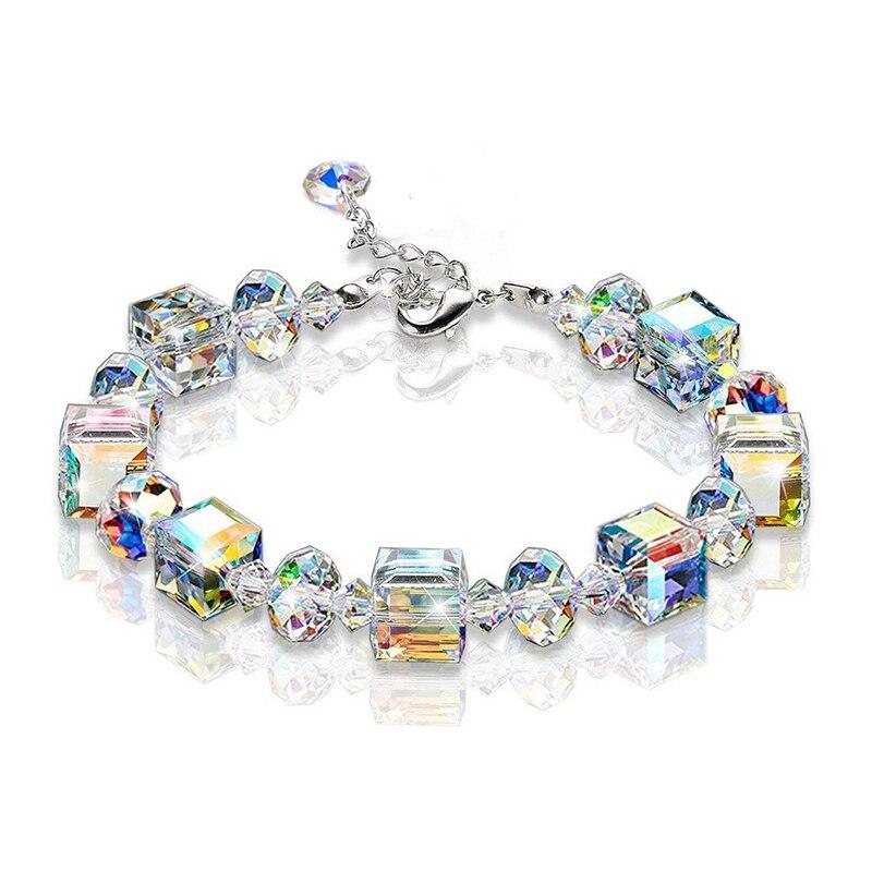 Crazy Feng Pulseras de cristal con encanto para Mujer brillante cuadrado geométrico con cuentas, Pulseras de cadena de eslabones, Pulseras de boda, regalos para Mujer