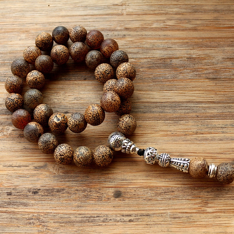 New 10mm Brown Leopard Grain Stone Bead 33 Prayer Beads Islamic Muslim Tasbih Allah Mohammed Rosary for women men