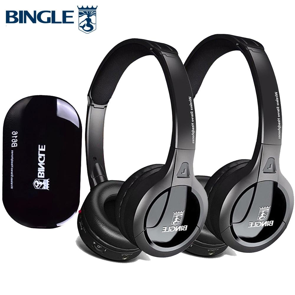 Bingle B616 2 قطعة سماعات/مجموعة اضافية باس على الأذن سن فيل Ecouteur RF سماعات لاسلكية سماعة للتلفزيون الاستماع المسرح العائلي