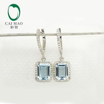 Caimao Jewelry 14K White Gold Natural 3.19CT Aquamarine Diamond Engagement Earrings