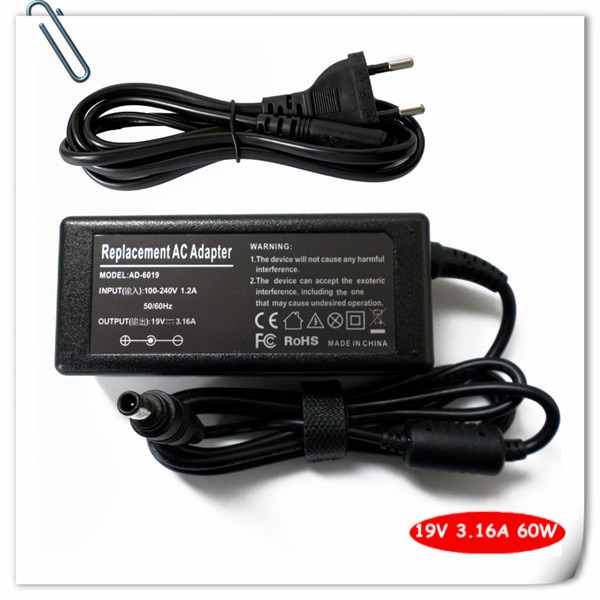 Netsnoer 60 w ac adapter voor samsung NP-QX410 NP-QX310 NP-R480 NP-R580 NP-R580-JSB1US R580-JSB1 laptop charger plug