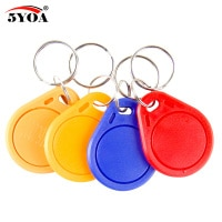 100pcs 13.56MHz IC M1 S50 Keyfobs Tags RFID Key Finder Card Token Attendance Management Keychain ABS Waterproof