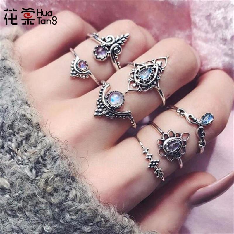 Huatang antigo prata cor estrela azul cristal oco esculpida anéis para mulher steampunk anéis de casamento conjunto anillos jóias 4426