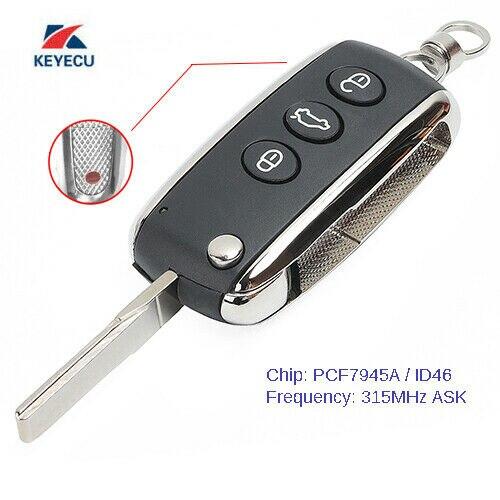 KEYECU 3 + 1B funda de mando a distancia inteligente 315MHz ID46 para BentleyContinental GT GTC Flying Spur