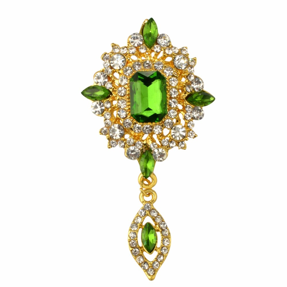 MZC broche de gota de agua de cristal verde Vintage Broches de aleación de lujo broche de mujer pin accesorios de strass hembra