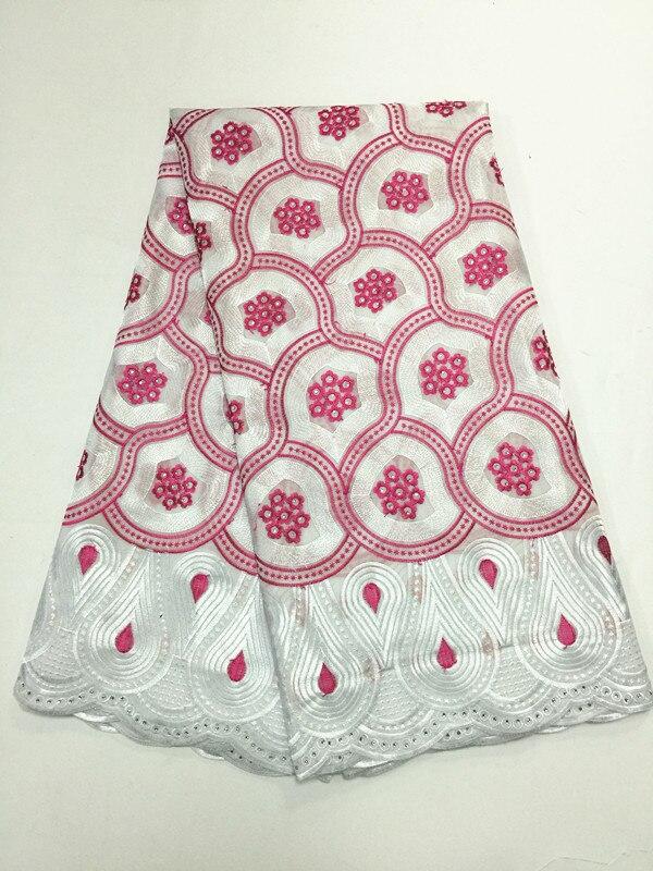 Tela de encaje de algodón pulido de voile suizo bordado para hombres africanos sin agujeros alta calidad gran oferta 5 yardas