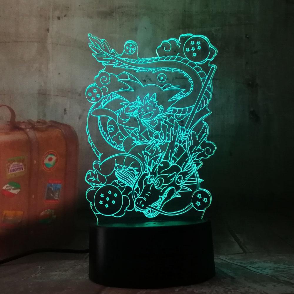 Новое светодиодное освещение подарок семь Dragon Ball Сон Гоку Тотем Акриловые 3D RGB ночные светильники USB светодиоды настольная лампа сенсорное управление домашняя лампа