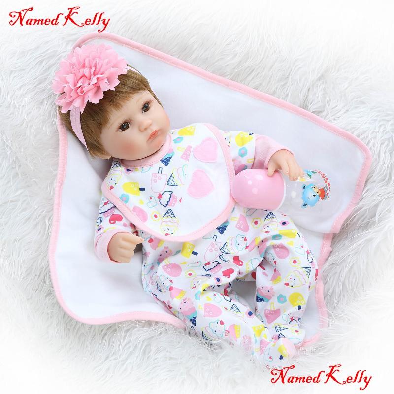 18 pulgadas muñeca bebé juguetes realista chica muñeca suave magnética chupete Para Boca para los niños bebe regalo metoo muñeca