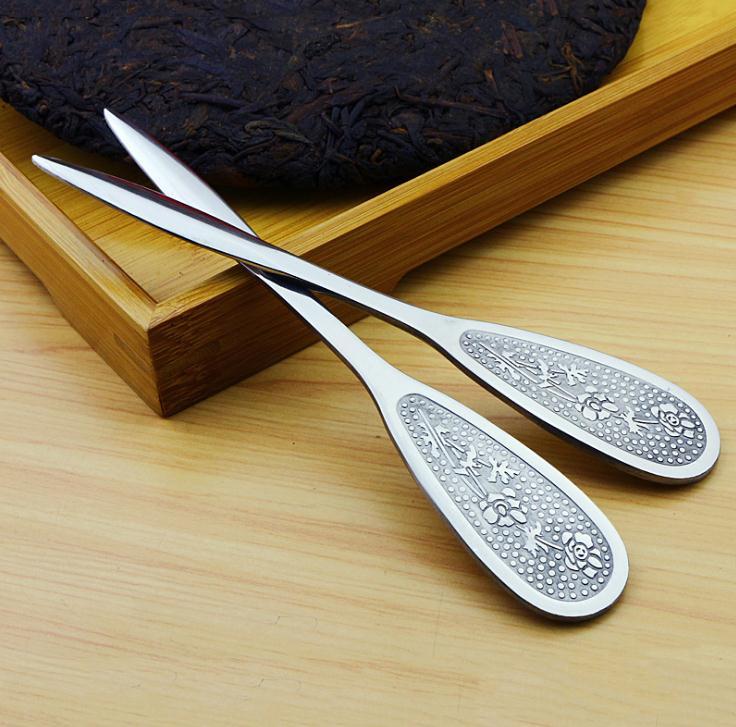 500 قطعة/الوحدة Puerh الشاي سكين الفولاذ الصلب بوير إبرة سمك إدراج الشاي كعكة الطوب مخروط التحديق أداة ل الصينية الشاي SN1077