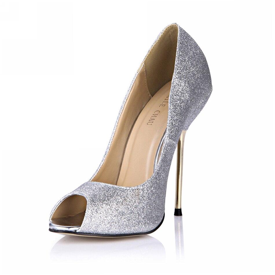 Zapatos de tacón de hierro de aguja de boda con purpurina Sexy para mujer, zapatos de tacón de moda para mujer, Mariee Talon Haut Aiguille TYJ3845-a6