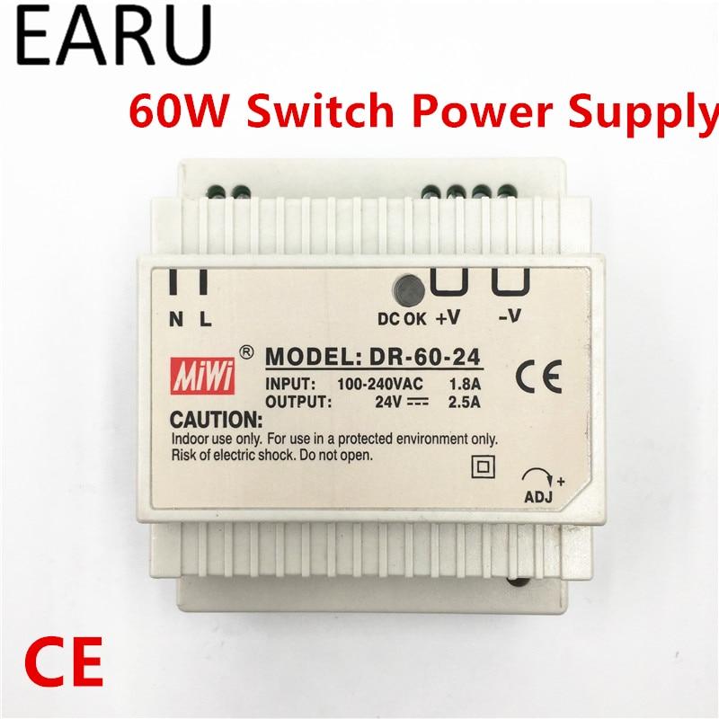 1 шт. din-рейка переключатель питания 60 Вт 24 В 2.5A Выход AC DC преобразователь DR-60-24 хорошее качество OEM напряжение трансформатор адаптер