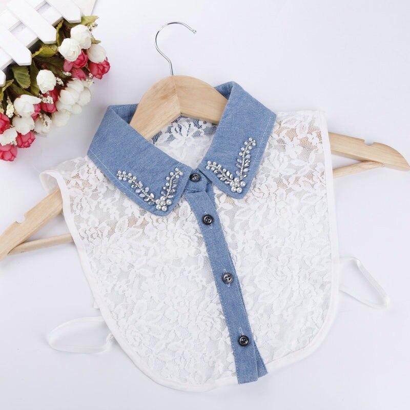 Mujeres adultas Rhinestone Lace Denim Cuello de camisa falso simulación de cristal Lady collares desmontables nuevo