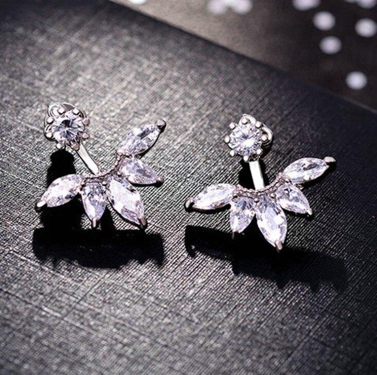 Pendientes de plata tallada en plata 925 cristal femenino de swarovssis temperamento Simple salvaje antialérgico