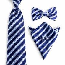 Bow Tie Men Blue Striped Fashion Bowties Silk Woven Neck Tie Ligth Blue Classic Bowties Hanky Cufflinks Tie Set For Men NL-0042