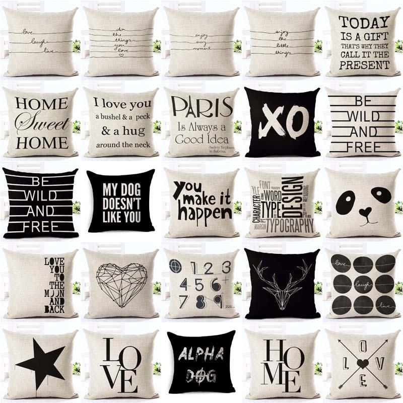 Letter Love Home Cushion covers Cotton linen Black White pillow cover Sofa bed Nordic decorative pil