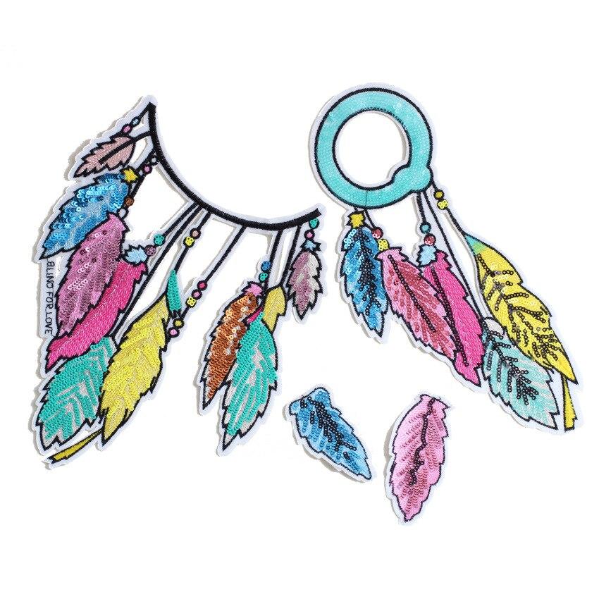 Ожерелье с блестками и перьями, серьги, нашивка, вышивка бисером, Аппликации, украшения с блестками для одежды, сделай сам, аппликация, значо...
