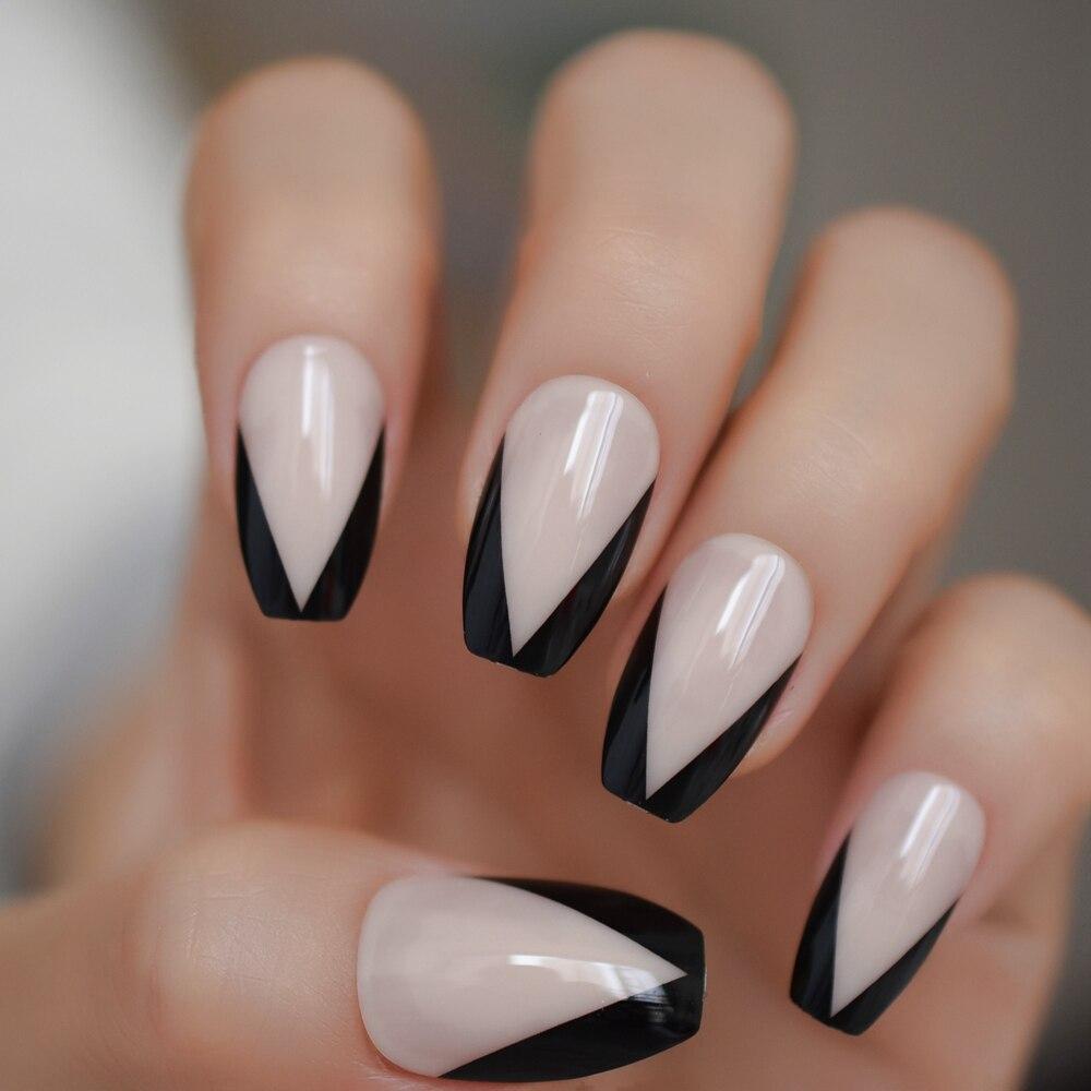 Uñas postizas en forma de V, Color Nude, para manicura francesa, negro mezclado, uñas postizas en Gel UV, ataúd con uñas para pestañas adhesivas, 24 Uds