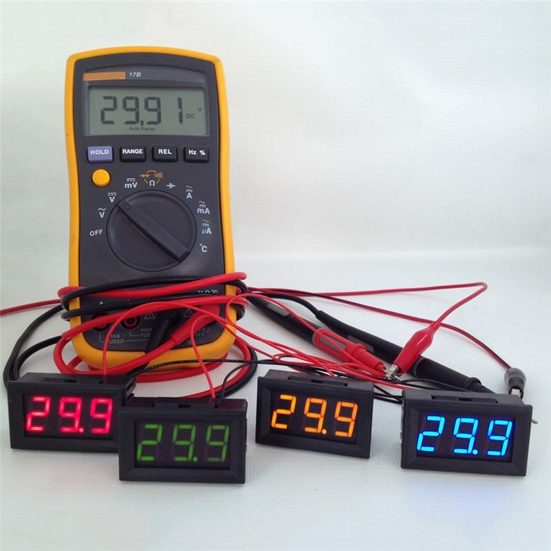 1 Unidad 2 cables Mini pantalla LED Digital voltímetro de alta calidad DC 2,5-30 V probador de batería LED Amp medidor de voltímetro Digital