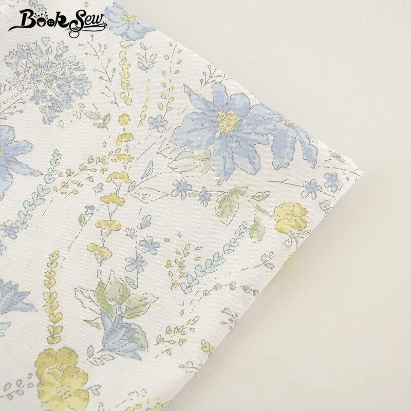 Booksew 100% tejido de sarga de algodón azul de la flor diseño de Material textil de ropa de cama ropa de bebé acolchado costura Patchwork