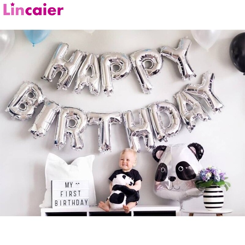 16 polegada feliz aniversário balões da folha de prata primeiro aniversário da menina do menino do bebê 1st uma festa decoração guirlanda crianças adulto suprimentos