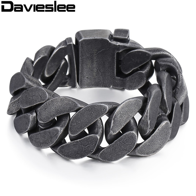 Davieslee Mens Chain 316L Rvs Zware Armband Gunmetal Tone Big Curb Link Groothandel Sieraden 24 Mm LHB333