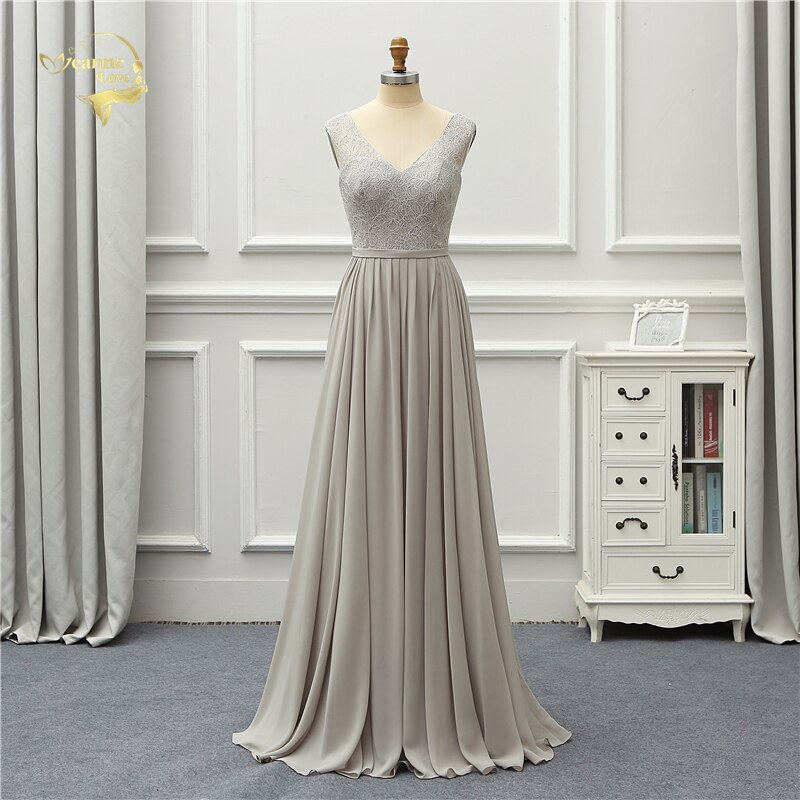 Jeanne Love Formal Evening Dress Lace Chiffon New Arrival V Neck Elegant Party Robe De Soiree Vestido De Festa OL5224 Prom Gowns недорого