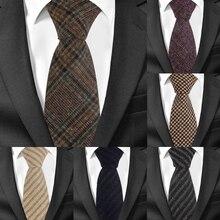 Cravate en laine à rayures pour hommes   Costume pour hommes, tissu écossais, cravate de cou pour les entreprises, cravate de marié de 7cm de largeur