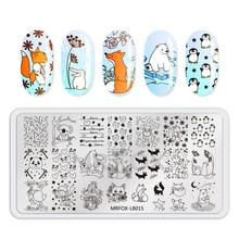 1 pc Nail Art estampage plaques nouveau arrivé fleurs mignon pingouin renard été océan Image estampage Nail Art modèle manucure plaque