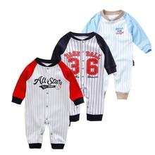 Bebé recién nacido 0-3-6month mamelucos de primavera Autuwn niños Ropa Estilo de béisbol bebé mono de algodón de manga larga jersey para niños