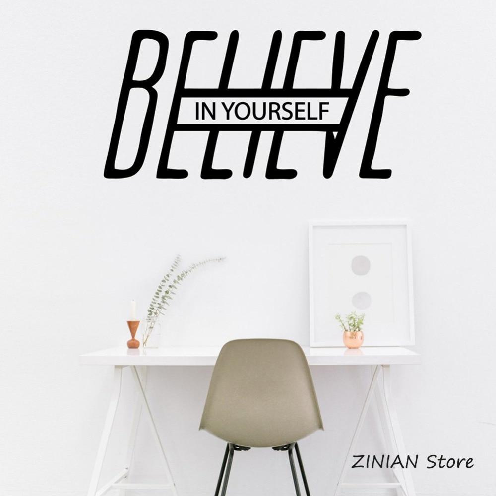 Adhesivo de pared Believe In Yourself, cita motivacional, palabras, arte, calcomanía, decoración de oficina, vinilo extraíble, calcomanías de pared, dormitorio 004