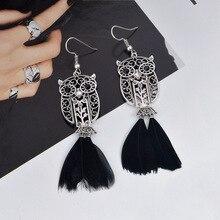 2 Style Vintage gitane déclaration ethnique filigrane plume sculpture Animal hibou gland Mental pendentif bijoux boucles doreilles pour les femmes