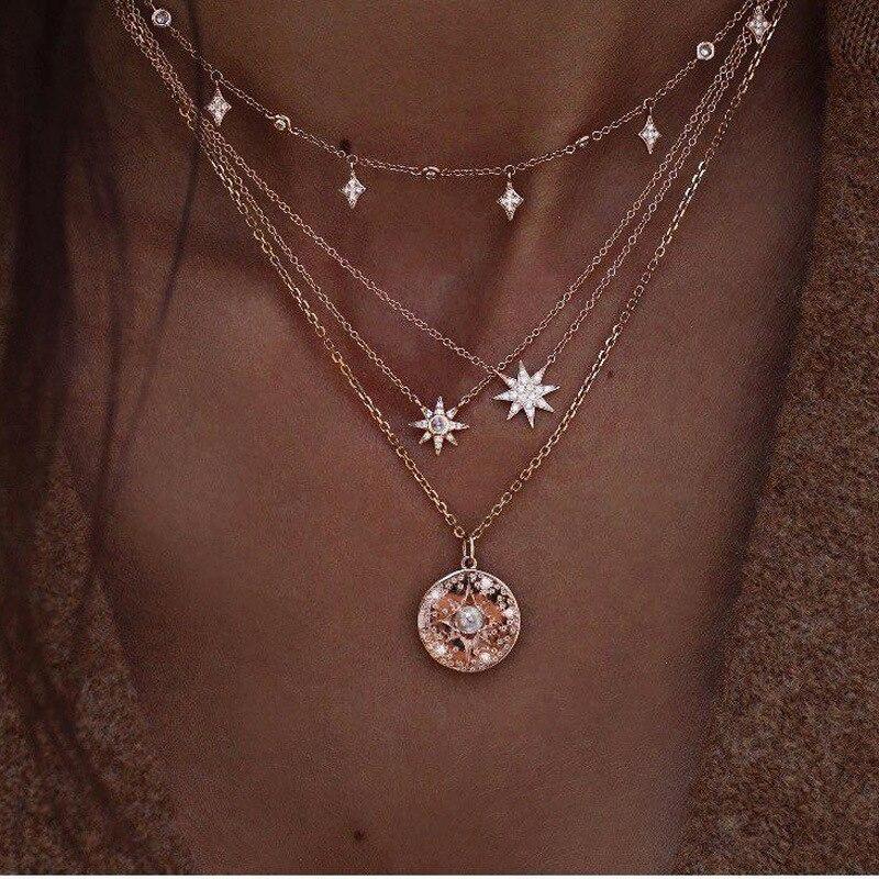 Многослойное ожерелье Tocona Boho, блестящий кристаллический драгоценный камень, круглая подвеска в виде звезд, Золотая цепь с жемчугом для вечеринок, ювелирных изделий в подарок, 6653