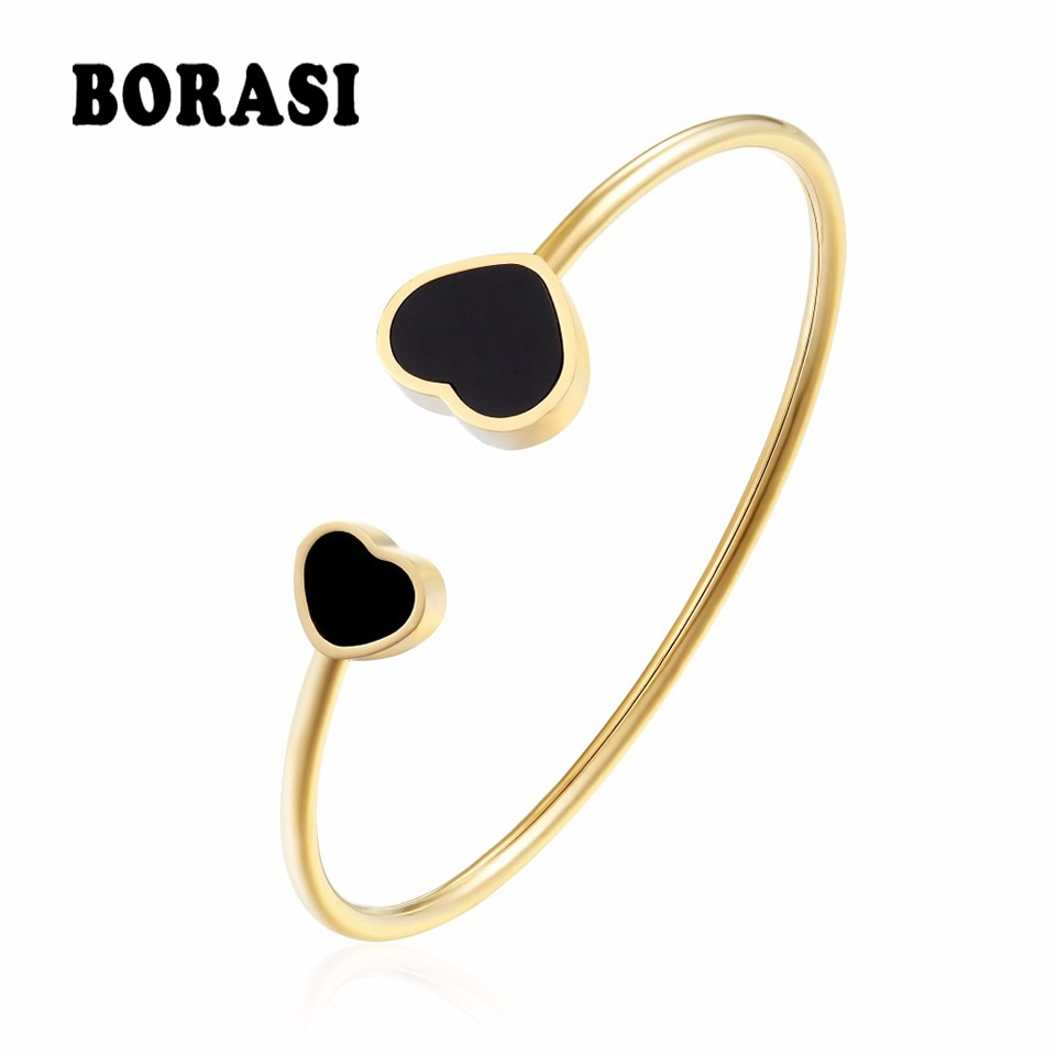 BORASI New Stainless Steel Heart Love Bracelets & Bangles For Women Trendy Charms Gold Color Bracelet Bangle Wedding Jewelry